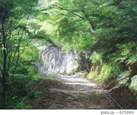 風景 山道 絵画 油絵 風景画のイラスト素材 Pixta