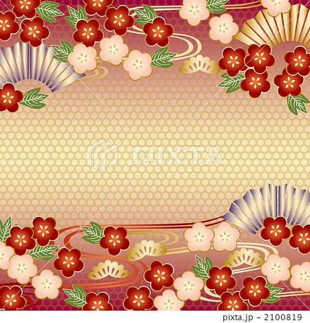 和柄 梅 壁紙 扇子 正月の写真素材 Pixta