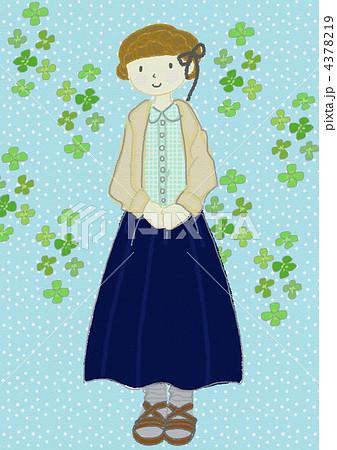 女性 女の子 クローバー ロングスカートのイラスト素材 Pixta