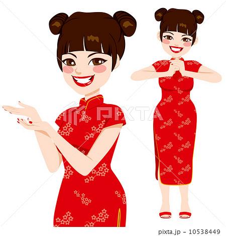 女性 チャイナ服 女の子 イラスト 中国人のイラスト素材 Pixta