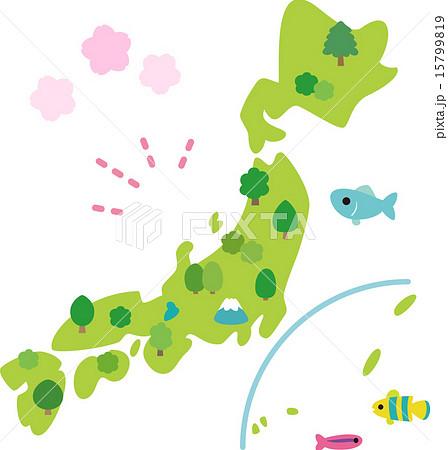 かわいい日本列島のイラスト