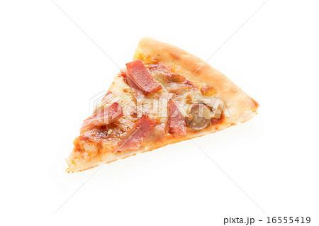 白色 白背景 ピザ 一切れの写真...