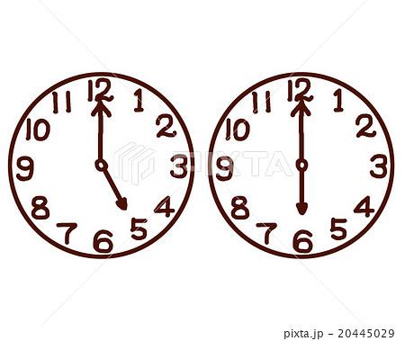 時計 手描き 5時のイラスト素材 20445029 Pixta