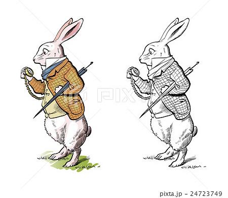 ウサギ イラスト 不思議の国のアリス 時計 うさぎのイラスト素材 Pixta