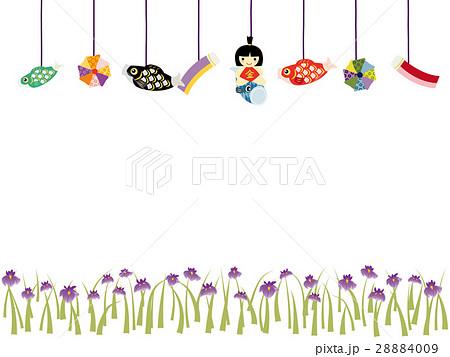 こどもの日 端午の節句 五月人形 枠のイラスト素材