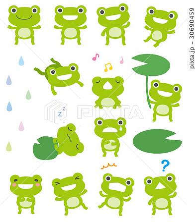 雨 カエル かわいい イラストのイラスト素材 Pixta