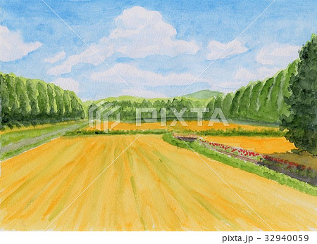 風景 秋 田んぼ 田舎のイラスト素材 Pixta