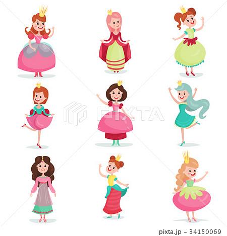 女性 女の子 お姫様 ドレス イラストのイラスト素材 Pixta