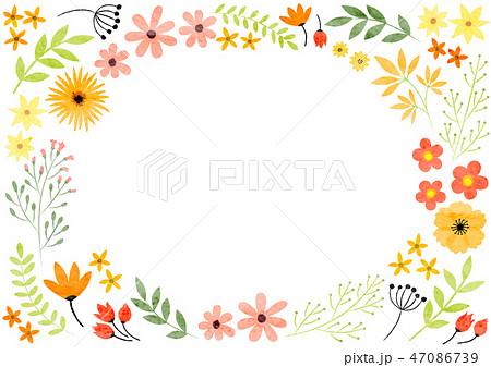 フレーム 手書き 植物 花のイラスト素材 Pixta