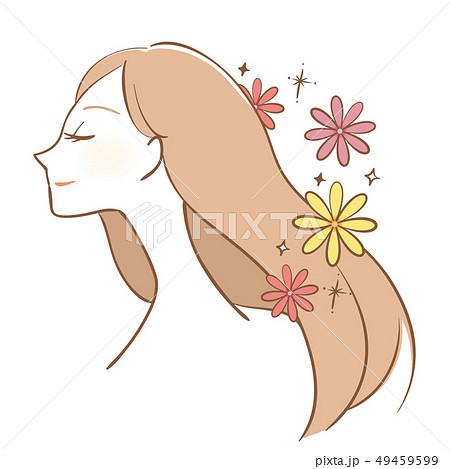 女性 花 美しい 髪 女の人 女の子 綺麗のイラスト素材 Pixta